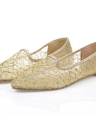 Sapatilhas (Branco/Dourado) - MULHERES Comfort/Dedo Apontado - Salto Raso - Renda