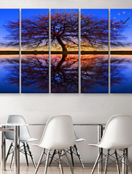 E-HOME® The Reflection of The Water Tree Clock in Canvas 5pcs