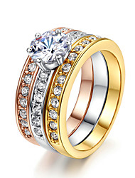 HKTC 18K Multi-Colour Gold Plated Classic Stack 3 Paved Bands CZ Stone Wedding Ring