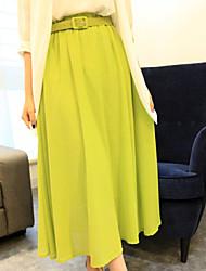 Women's Casual/Maxi Micro-elastic Medium Maxi Skirts (Chiffon)