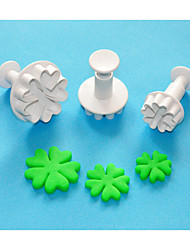 FOUR-C Heart By Heart Shape Plastic Sugarcraft Plunger Cutter Set 3,Classic Cake Decoration Tools