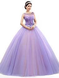 Formal Evening Dress - Lavender Petite Ball Gown Jewel Floor-length Organza / Tulle / Charmeuse