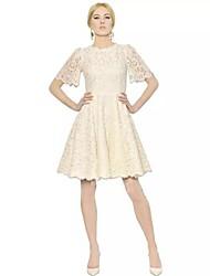 TS Women's Luxury Brands Wind Sleeve Dress In White Lace Dress
