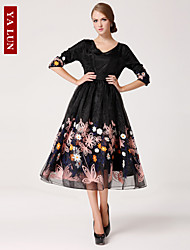 Yalun™ New Fashion Women's Slim Chiffon  Half Sleeve Embrodery  Dress