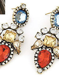Stud Earrings Gemstone Rhinestone Alloy Statement Jewelry Gray Red Jewelry 1set