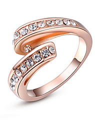 RUIO Austrian crystal inlaid white single-point diamond ring