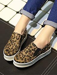 Sneakers de diseño ( Negro/Plateado/Estampado animal Comfort/Dedo redondo - Plataforma - Piel - para MUJERES