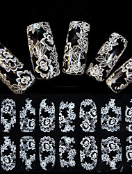 1x16PCS Imbue 3D Diamond Transparent White Lace Nail Art Ultrathin Stickers QJ-27