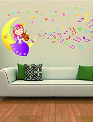 stickers muraux stickers muraux, fille assise sur les lune violon pvc stickers muraux