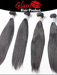 "4 PCS Lot 8""-30"" Mix Length Brazilian Hair  #1B Natural Color Straight Human Hair Bundles Soft Smooth Feeling"