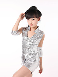 Jazz Performance Outfits Children's Performance Polyester/PU Fashion Outfit Red/Sliver Kids Dance Costumes