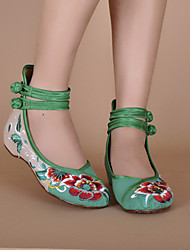 Women's Embroidered Shoes Canvas Spring Summer Fall Casual Embroidered Shoes Buckle Flat Heel Black Red Green Flat