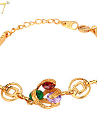 U7® Women's Multicolor Clear Cubic Zirconia 18K Real Gold Plated Luxurious Chain Charm Bracelet