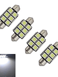 JIAWEN® 4pcs Festoon 36mm 1.5W 6x5050SMD 100-150LM 6000-6500K Cool White Light LED Car Light (DC 12V)