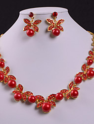 Ladies'/Women's Alloy Wedding/Party Jewelry Set With Imitation Pearl/Rhinestone
