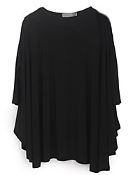 Women's Casual/Cute/Party/Work Round ¾ Sleeve T-Shirts (Chiffon)