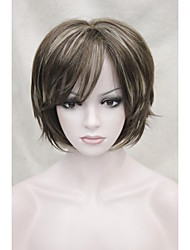 New Medium Brown with  Blonde highlight short straight women's synthetic wig