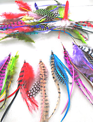 100% Real Natural Feathers Hair Extension Grizzly Rooster Feather Extensions Mix Order 500 pieces/lot GRFZ002