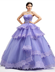 Ball Gown Princess Strapless Floor Length Lace Organza Tulle Charmeuse Formal Evening Dress with Lace Ruffles Criss Cross Sequins by HUA