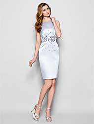 Lanting Bride® Sheath / Column Plus Size / Petite Mother of the Bride Dress Knee-length Sleeveless Satin with Sequins