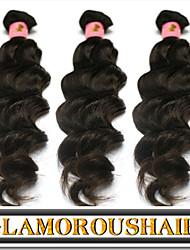 "3 Pcs/Lot 8""-34"" Indian Unprocessed Virgin Hair Natural Black Color Natural Weave Hair Extension."