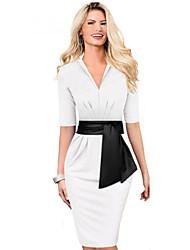 vestido medio-manga de las mujeres de la vendimia elegante casual de negocios