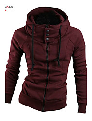 MANWAN WALK®Men's Casual Slim Solid High Collar Hoodie.