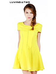 Women's Casual/Cute/Party/Work Micro-elastic Short Sleeve Above Knee Dress (Polyester) Luvingtwo Hot Sale
