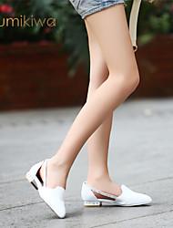 KumiKiwa 2015 100% real leather casual single women shoes white flats K14XS959