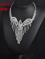 Bridal Wedding Necklace Set Korean fashion rhinestone crown wings claw chain tassel necklace