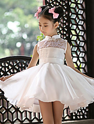 Ball Gown Short / Mini Flower Girl Dress - Satin Sleeveless High Neck with