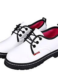 Oxfords ( Negro/Blanco/Borgoña Comfort/Dedo redondo - Plataforma - Piel - para MUJERES