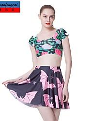 falda estampada sexy mediados de cintura delgada falda plisada ocasional del cmfc®women todo-fósforo damas underdress ropa