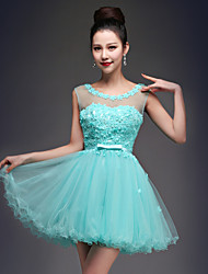 Homecoming Cocktail Party Dress - Sky Blue Princess Scoop Short/Mini Tulle