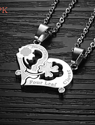 OPK®A Pair Fashion Kiss Puzzle High Quality Titanium Lovers Necklace Love Gift