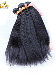 "3Pcs/Lot 10""-30"" Indian Virgin Hair Color Natural Black Kinky Straight Human Hair Weaves"