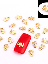 10PCS Gold Nail Art Jewellry Golden Initial No Aryclic Nail Tips Decorations Nail Art Glitters for Nails