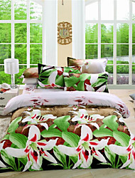 Mingjie Hazy Night White Flowers Green 3D Bedding Sets Queen Size