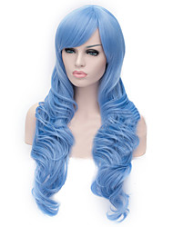 European And American Fashion Sky-Blue Inclined Bang Curly Hair Wig
