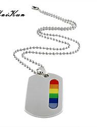 2015 new gay lesbian rainbow silver dog tag pendant necklace