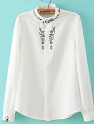 De las mujeres Camisa Escote Chino - Lino - Manga Larga