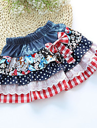 Girl's Sweet Dot Waist Bow Decor Denim Splice Lace Check Skirt
