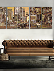 E-HOME® Stretched Canvas Art The Bustling Streets of The City Decoration Painting  Set of 4