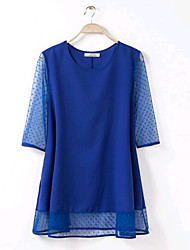Women's Big Size For Lady Vintage/Sexy/Casual Inelastic Short Sleeve Long Blouse (Chiffon)