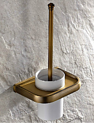Antique Brass Finish Brass Material Toilet Brush Holder With Ceramic Cup