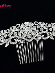 Neoglory Jewelry Flower Clear Rhinestone Wedding Bridal Hair Comb Accessories