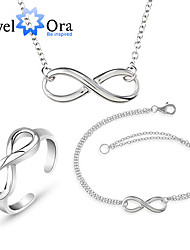 Genuine 925 Set Fine Sterling Silver Jewelry Wedding Accessories Infinity Jewelry set
