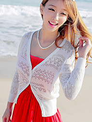 Women's Beach/Casual Long Sleeve Cardigan Hollow Out Knit Shirt