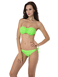 RELLECIGA 2015 Neon Green Bandeau Top Bikini with Shining Stones on the Decorative Leaves & Push-up Molded Cups
