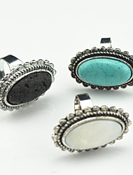 Toonykelly Vintage Antique Silver Volcano Turquoise Stone Shell Adjustable Ring(1pcs)